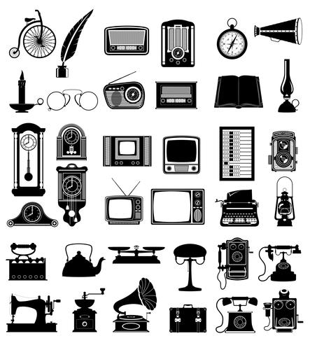 big set of much objects retro old vintage icons stock vector illustration