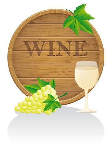 trä vinfat och glas vektor illustration EPS10