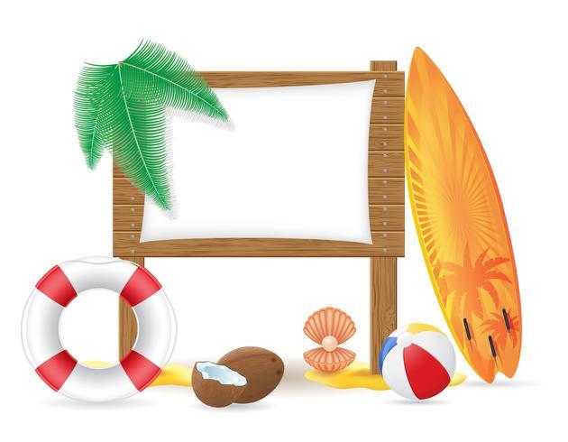 il bordo di legno con le icone della spiaggia vector l'illustrazione