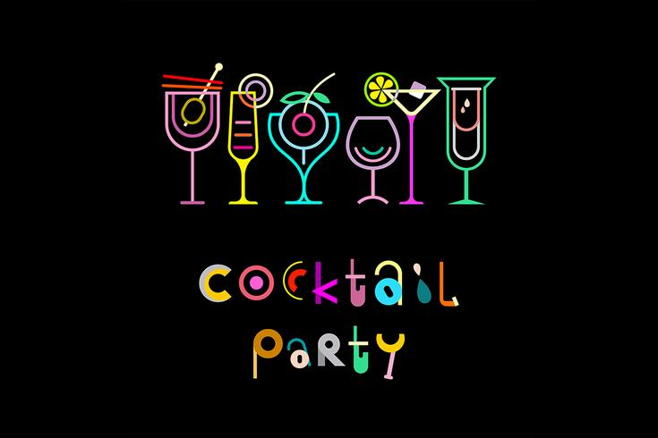 Cocktail-Party-Vektor-Poster