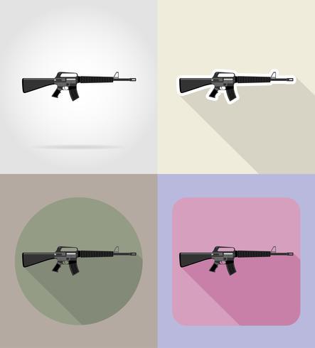Armas modernas armas de fuego planos iconos vector illustration