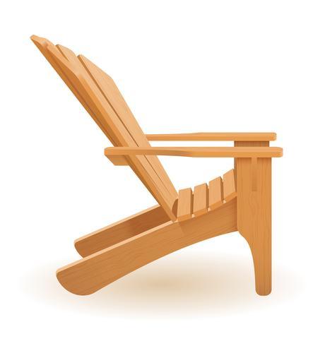 silla de playa o jardín tumbona tumbona hecha de madera vector ilustración