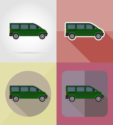 Ilustración de vector de iconos plana mini bus