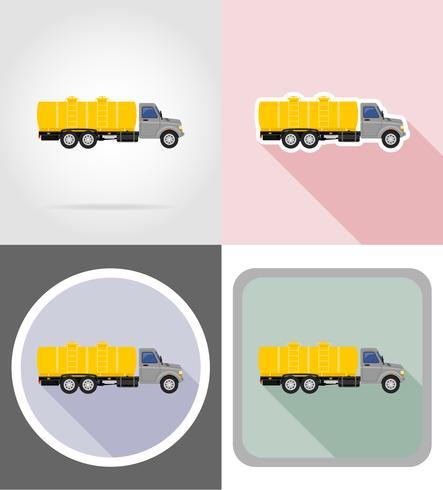 camion avec réservoir pour le transport de liquides icônes plates illustration vectorielle vecteur