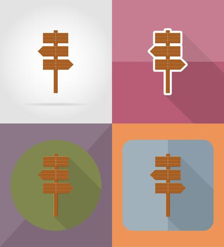 iconos planos de tablero de madera vector illustration