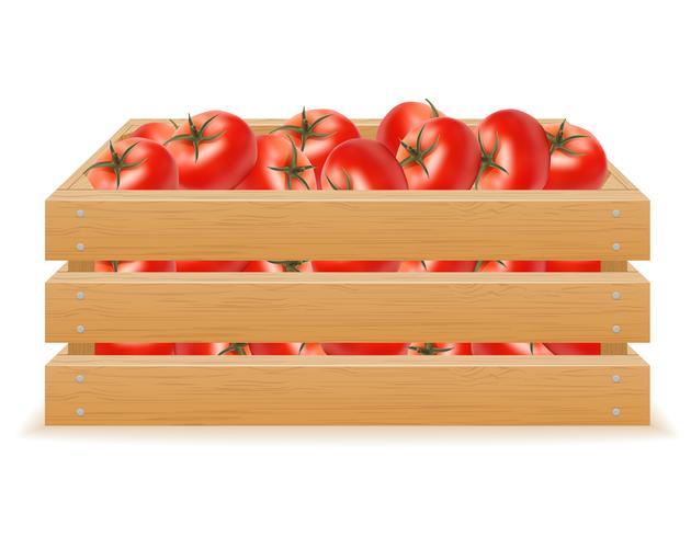 boîte en bois d'illustration vectorielle tomate vecteur