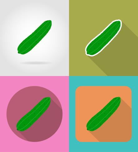 cucumber vegetable flat icons with the shadow vector illustration