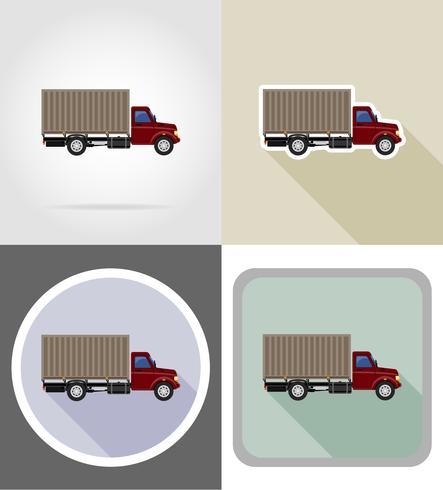 cargo truck for transportation of goods flat icons vector illustration