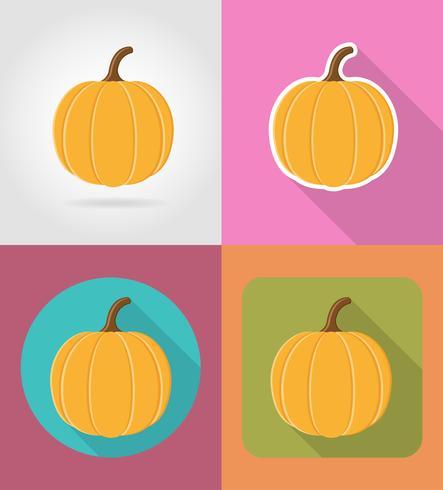 ícones planas vegetais de abóbora com a ilustração do vetor de sombra