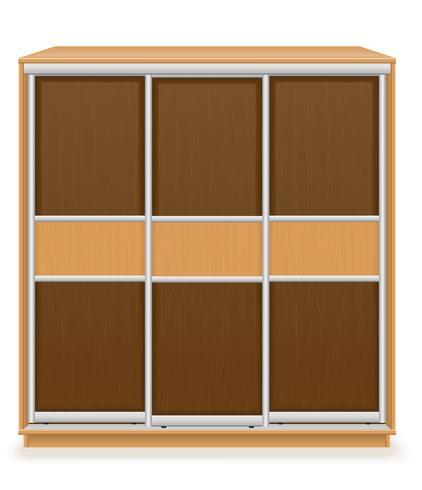 Armario moderno de muebles de madera con puertas correderas ilustración vectorial
