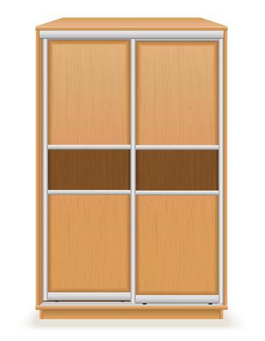 moderno armadio in legno con ante scorrevoli illustrazione vettoriale