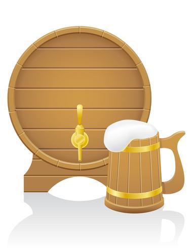 barile di birra in legno e illustrazione vettoriale tazza