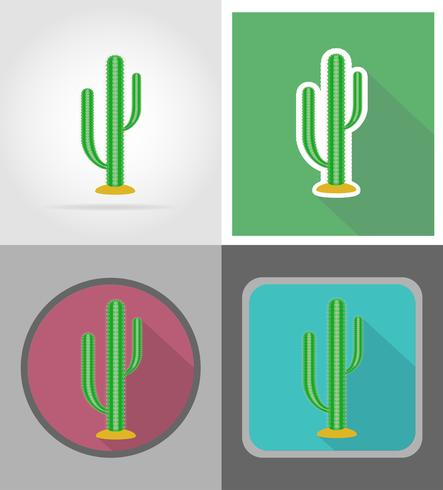 cactus wild west plat pictogrammen vector illustratie