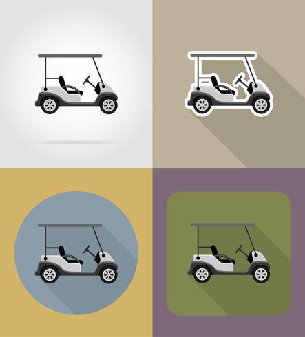 Ilustración de vector de iconos planos de coche de golf