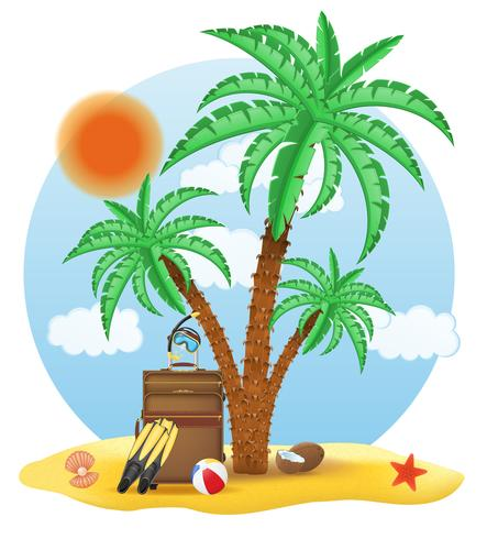 suitcase standing under a palm tree vector illustration