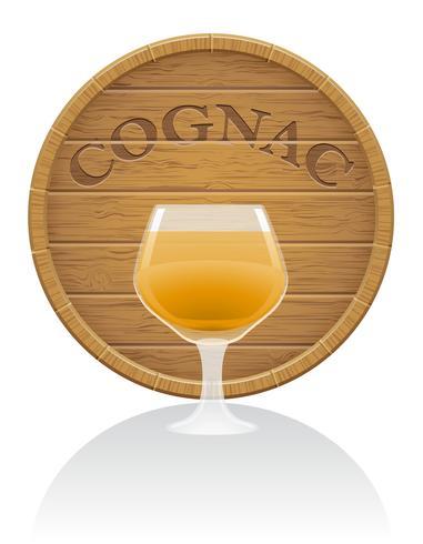 illustration vectorielle en bois de verre et baril de cognac EPS10 vecteur