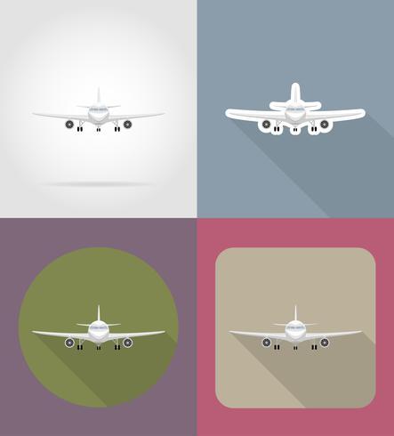 Ilustración de vector de iconos planos de avión