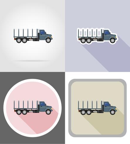 camión de carga para el transporte de mercancías iconos planos vector illustration