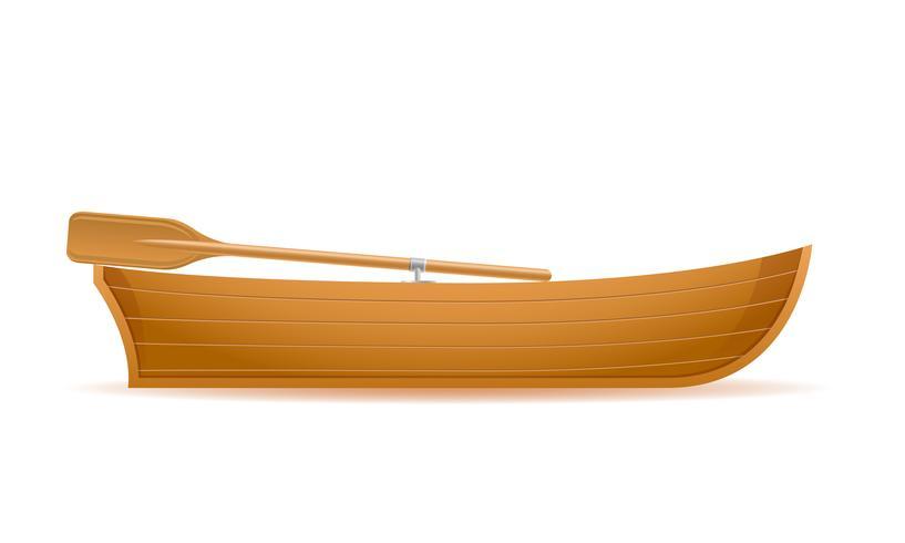 Seitenansicht-Vektorillustration des hölzernen Bootes