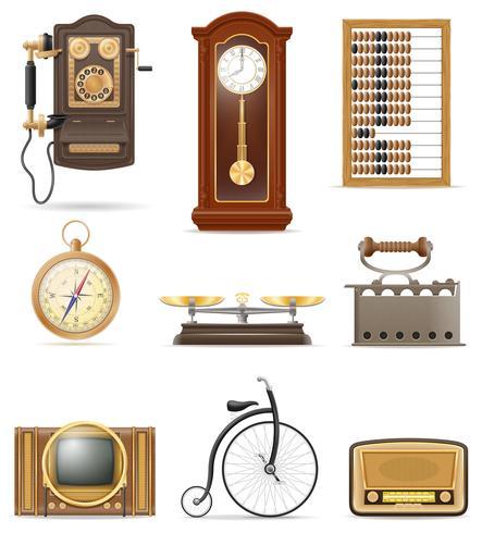 conjunto de muchos objetos retro antiguos iconos vintage stock vector ilustración