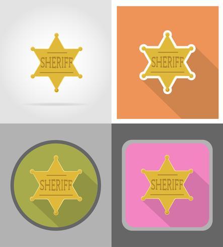 illustrazione di vettore delle icone piane di selvaggio west dello sceriffo della stella