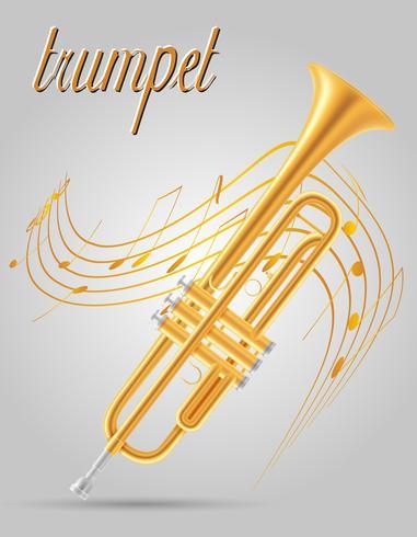Vektorillustration der Musikinstrumente des Trompetenwindes auf Lager