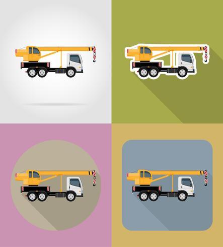 truck crane for construction flat icons vector illustration