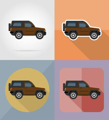 Suv transporte iconos planos vector illustration