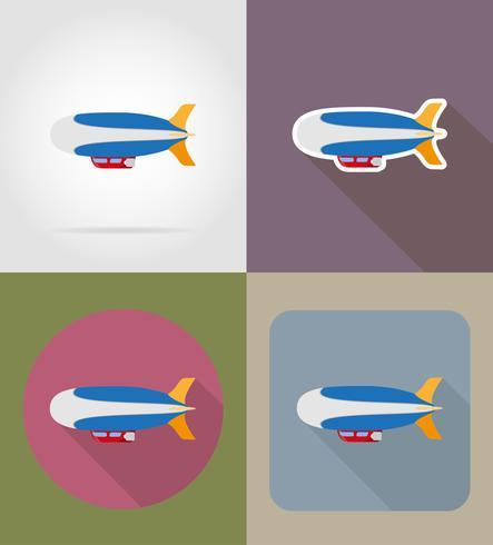 zeppelin icônes plates vector illustration
