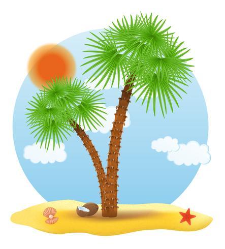 palmeira fica na ilustração vetorial de areia