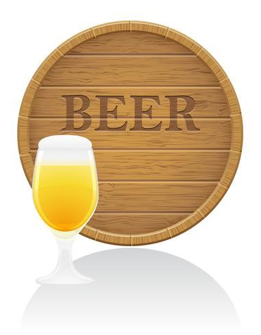 barril de cerveja de madeira e ilustração vetorial de vidro EPS10