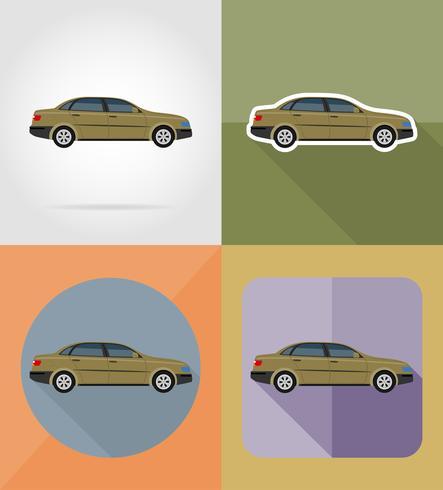 coche transporte iconos planos vector illustration
