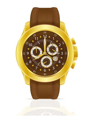 gold mechanical wristwatch watch with leather strap vector illustration