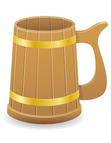 illustrazione vettoriale di birra tazza di legno