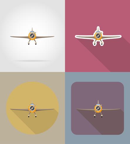 flache Vektorikonen des Flugzeuges