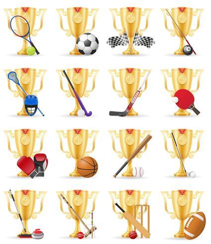 cups winner sports gold stock vector illustration