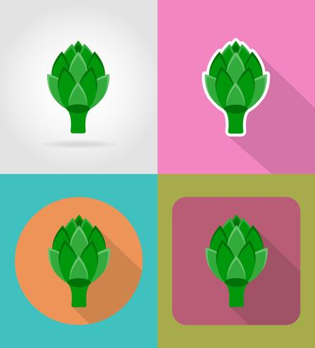 artichoke vegetable flat icons with the shadow vector illustration