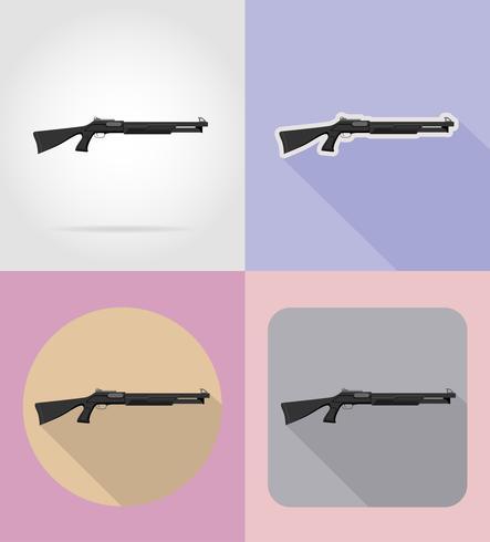 armes à feu armes modernes icônes plats vector illustration