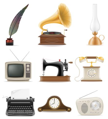 set of much objects retro old vintage icons stock vector illustration