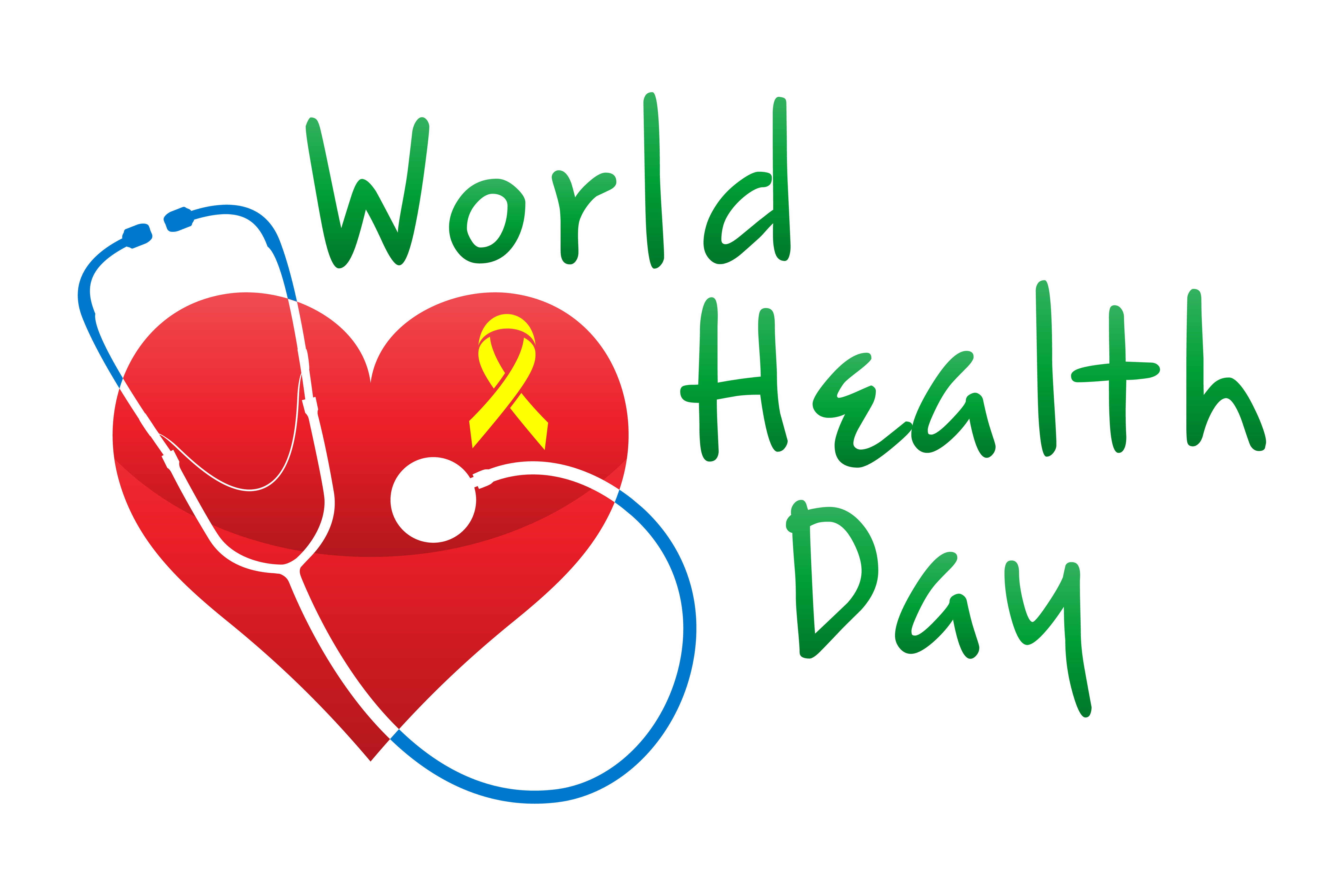 world health day logo text banner vector illustration ...