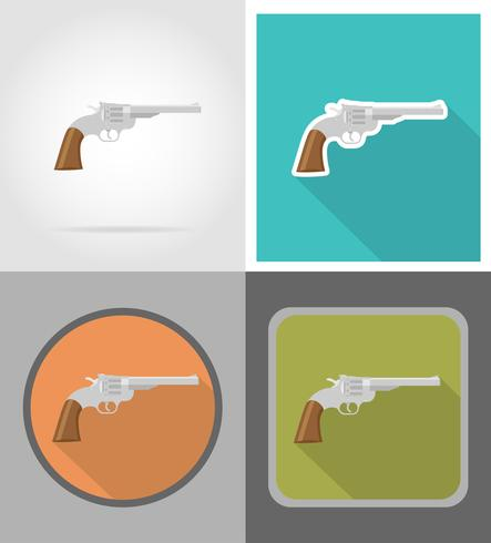 revolver wild west plat pictogrammen vector illustratie