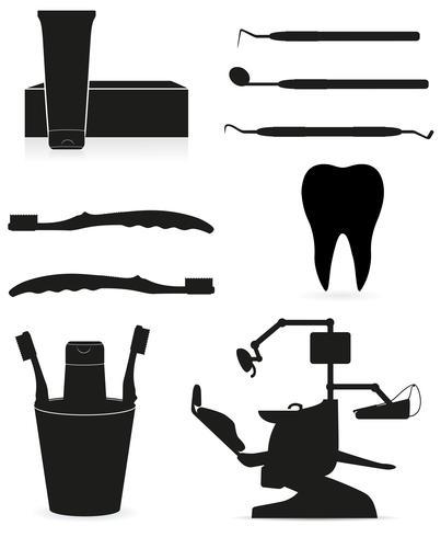 dental instrument svart silhuett vektor illustration