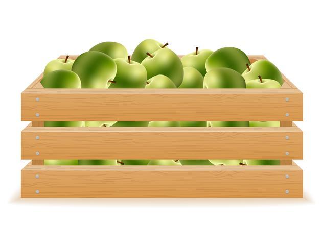 wooden box of apples vector illustration