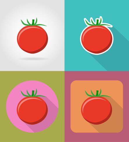 tomaat plantaardige plat pictogrammen met de schaduw vectorillustratie