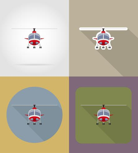 ilustração em vetor ícones plana helicóptero