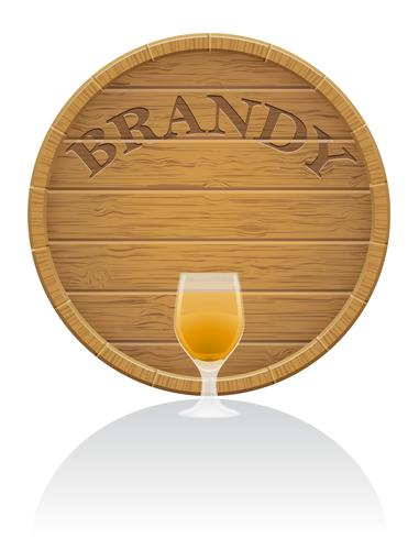 trä brandy fat och glas vektor illustration EPS10