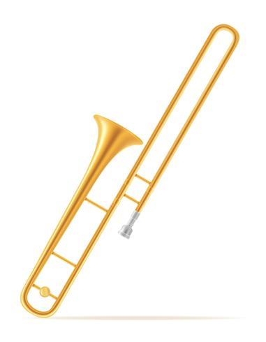 Vektorillustration der Musikinstrumente des Posaunenwindes auf Lager