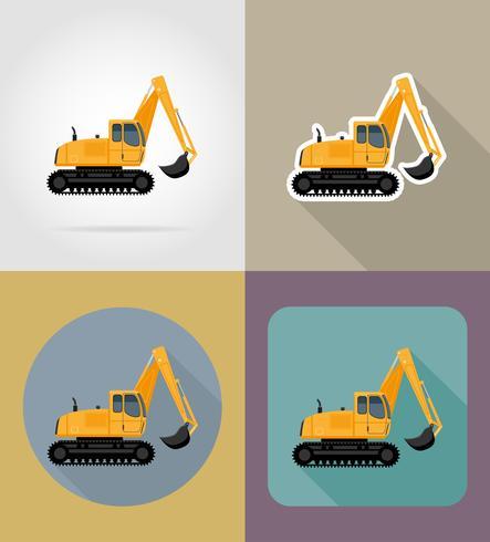 excavadora para obras viales iconos planos vector illustration