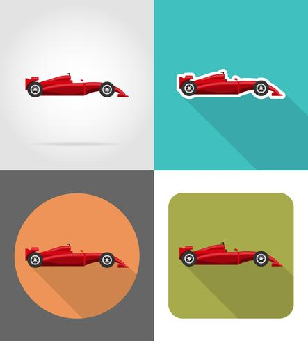 sport car flat icons vector illustration