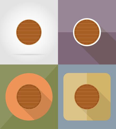 illustrazione di vettore di icone piane di tavola di legno
